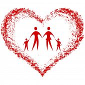 familia vector con corazón dibujado a mano