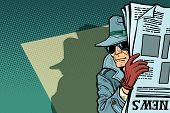 Spy Detective In Hat And Sunglasses, Newspaper. Comic Cartoon Pop Art Retro Vector Illustration Draw poster
