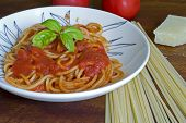 Spaghetti With Ingredients Around