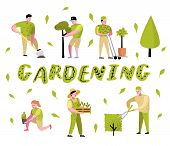 Gardening Cartoons Set. Funny Simple Characters With Plants And Trees. Man And Woman Gardener. Vecto poster