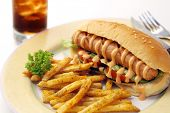 Hotdog meal with french fries and soda
