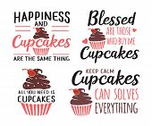 Cupcakes Baking Funny Quote Saying Vector Design Set poster
