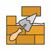 Brick Wall With Triangular Shovel Color Icon. Putty Knife, Spatula. Cement Solution. Isolated Vector poster