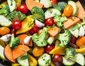 Cut Seasonal Raw Vegetables - Sweet Potatoes, Broccoli, Bell Peppers, Zucchini, Tomatoes, Onions, Ga poster
