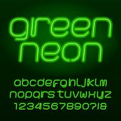 Green Neon Tube Alphabet Font. Neon Color Lowercase Letters, Numbers And Symbols. Stock Vector Types poster