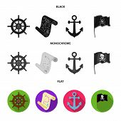 Pirate, Bandit, Rudder, Flag .pirates Set Collection Icons In Black, Flat, Monochrome Style Vector S poster