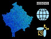 Blue Hexagon Kosovo Map. Geographic Map In Blue Color Shades On A Black Background. Vector Pattern O poster