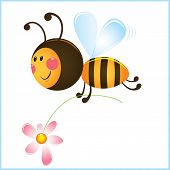 Funny Bee And Flower