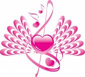 Music of the Heart. Heart, wings, note and treble clef. Vector illustration.
