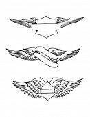 Set of 3 Emblems illustrating wings