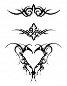 A collection of tribal tattoo design illustrating abstract wings