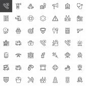 Emergency Services Outline Icons Set. Linear Style Symbols Collection, Line Signs Pack. Vector Graph poster