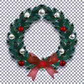 Christmas, New Year. Blue Branch Of Spruce In The Form Of A Christmas Wreath With Shadow. Red Bow, S poster