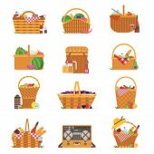 Wicker And Willow Picnic Baskets Isolated On White. Various Weaving Hampers In Flat Design. Straw Pi poster