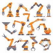 Flat Manufacture Robotic Arm. Automatic Robot Arms, Production Machine Auto Factory Conveyor Industr poster