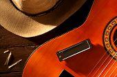 Mundharmonika auf Gitarre