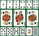 Club suit. Jack, Queen and King double sized. Green background in a separate level.