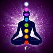 Meditating Human In Lotus Pose. Yoga Illustration. Colorful 9 Chakras And Aura Glow. Shine Backgroun poster
