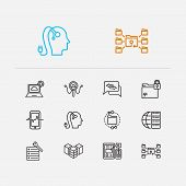 Tech Icons Set. Artificial Intelligence And Tech Icons With Big Data, Data Center And Data Analytics poster