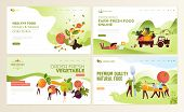 Set Of Web Page Design Templates For Farm Fresh Food, Online Food Ordering, Organic Vegetable, E-com poster