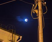 Moon Eclipse In Full Moon. Super Blue Blood Moon In July 27, 2018, Belarus poster