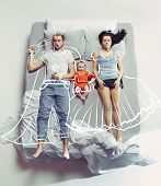 Top View Of Happy Funny Family With One Newborn Child In Bedroom. Enjoying Being Together. Happy Fam poster