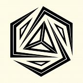 Sacred Geometry. Graphic Linear Triangle. Sacred Symbol Of Vikings. Ancient Sacral Sign Of Celts. Al poster