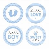 Cute Baby Shower Vector Sticker. Round Tags, Blue Color. Baby Feet In A Circle With Chevron. Little  poster