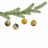 Realistic Vector Christmas Tree Branch And Balls. Pine Tree Branch With Christmas Balls. Gray And Go poster