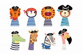 Set Of Cute Funny Little Animals Pirates Lion, Tiger, Zebra, Flamingo, Penguin, Sloth, Giraffe, Croc poster