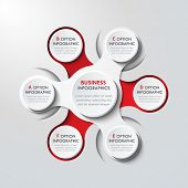 3d Paper Infographic Elements For Six Options. Metaball Business Infographics. Template For Circle I poster