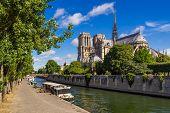 Notre Dame De Paris Cathedral, Seine River And Quai De Montebello In Summer. Ile De La Cite, Paris,  poster