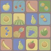 Multicolored Squares With Rounded Corners With Pictures Of Bright Fruits, Berry With Contrasting Col poster
