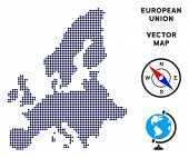 Dot European Union Map. Abstract Geographic Map. Points Have Rhombic Form And Dark Blue Color. Vecto poster