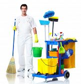 Professional cleaner man with janitor cart. Isolated on white background..
