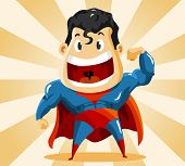 Strong Super Hero. Detailed vector Illustration.