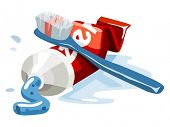 Toothbrush and toothpaste set. Vector Illustration