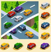 Car in the city. vector vehicle set isometric series