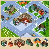 Cafe and Neighborhood Isometric. Set of very detailed isometric vector