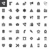 Emergency Services Vector Icons Set, Modern Solid Symbol Collection, Filled Style Pictogram Pack. Si poster