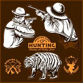 Hunters And Bear - Vector Isolated Illustration Plus Hunters Club Logo On Brown poster