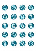 set of blue vector glass button icons