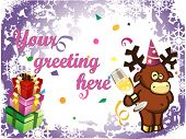 vector abstract christmas background with presents, little cartoon deer and sham