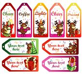 vector christmas labels with funny cartoon deers