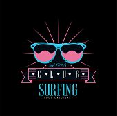 Surfing Club Logo Original Est 1978, Design Element Can Be Used For Surf Club, Shop, T Shirt Print,  poster