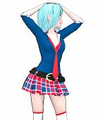 Anime Doll Japanese Anime Schoolgirl Big Blue Eyes And Bright Makeup. Skirt Cage. Cartoon, Comics, S poster