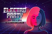 Electro Party Music Poster Template. Violet Neon Fashion Girl. 80s Retro Sci-fi Background With Sunr poster