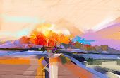 Abstract Oil Painting Landscape. Colorful Blue Purple Sky. Oil Painting Outdoor On Canvas. Semi Abst poster
