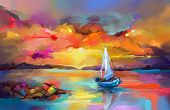 Colorful Oil Painting On Canvas Texture. Impressionism Image Of Seascape Paintings With Sunlight Bac poster