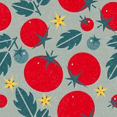 Tomato Seamless Pattern. Ripe Tomatoes With Leaves And Flowers On Shabby Background. Original Simple poster